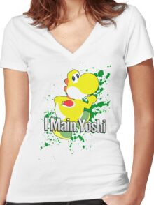 I Main Yoshi (Yellow Alt.) - Super Smash Bros. Women's Fitted V-Neck T-Shirt