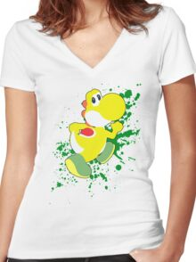 Yoshi (Yellow Alt.) - Super Smash Bros. Women's Fitted V-Neck T-Shirt