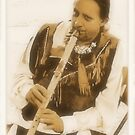 """""""Native American Indian on Flute""""... prints and products by © Bob Hall"""