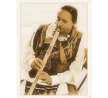 """""""Native American Indian on Flute""""... prints and products Photographic Print"""