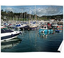 Busy Lyme Harbour Poster