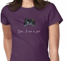 Yes, I am a Girl- (white text) Womens Fitted T-Shirt