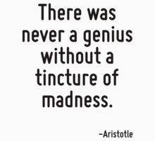 There was never a genius without a tincture of madness. by Quotr