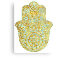 Gold and light Blue Hamsa Hand Canvas Print