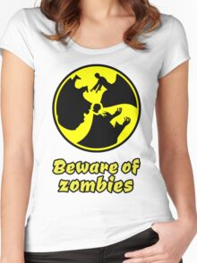 zombie zombies halloween apocalypse monster scary dark night Women's Fitted Scoop T-Shirt