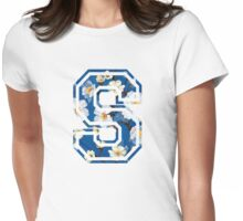 College letter S with flower pattern Womens Fitted T-Shirt