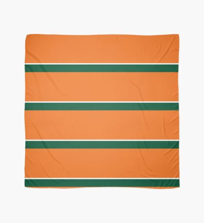 Orange Green and White Banded Scarf