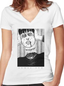 Tomio: Red turtleneck - Junji Ito Women's Fitted V-Neck T-Shirt