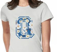 College letter Q with flower pattern Womens Fitted T-Shirt