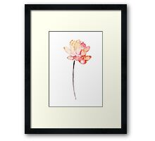 Lotus Yellow Flower Floral Poster Coral Watercolor Painting Framed Print