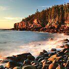 Boulder Beach Seascape Acadia National Park by Roupen  Baker