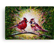 Cardinals Chat  Canvas Print