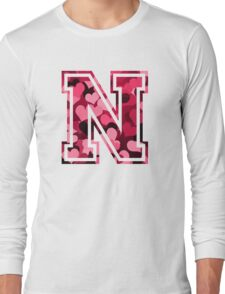 College letter N with hearts pattern Long Sleeve T-Shirt
