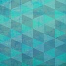 Aqua Gradient Geometric Pattern by Cherie Balowski