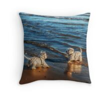 Playing in the sunset Throw Pillow