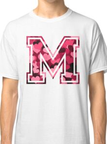 College letter M with hearts pattern Classic T-Shirt