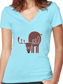 Oh deer Women's Fitted V-Neck T-Shirt