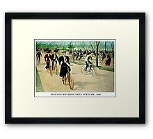 BICYCLING RIVERSIDE DRIVE NEW YORK; Vintage Print Framed Print