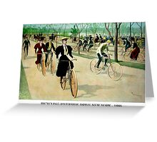 BICYCLING RIVERSIDE DRIVE NEW YORK; Vintage Print Greeting Card