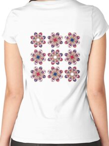 Red, White and Blue Foot Flowers Women's Fitted Scoop T-Shirt