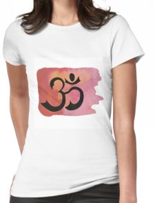 Om on red watercolor background Womens Fitted T-Shirt