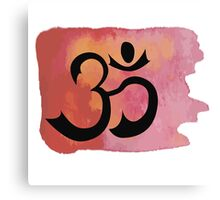 Om on red watercolor background Canvas Print