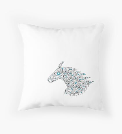 Horsy line in blue Throw Pillow