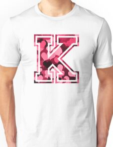College letter K with hearts pattern Unisex T-Shirt