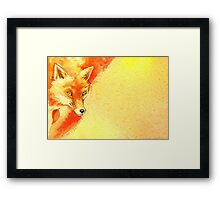 Watercolor autumn forest with red fox. Framed Print