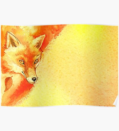 Watercolor autumn forest with red fox. Poster