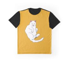 White Cat with an Orange Background Graphic T-Shirt