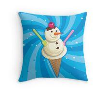 Vanilla snowman Throw Pillow