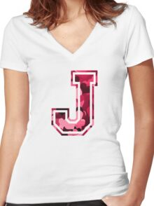 College letter J with hearts pattern Women's Fitted V-Neck T-Shirt
