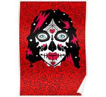 sugar skull red roses lge Poster
