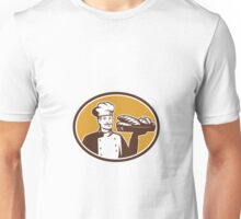 Baker Serving Bread Loaf Woodcut Unisex T-Shirt