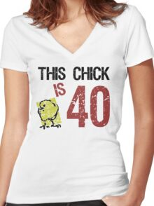 Women's Funny 40th Birthday Women's Fitted V-Neck T-Shirt