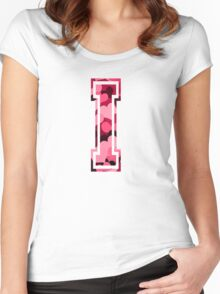 College letter I with hearts pattern Women's Fitted Scoop T-Shirt