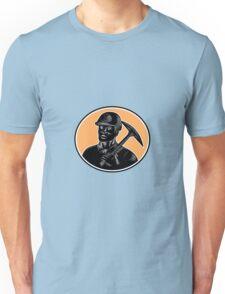 Coal Miner Carry Pick Axe Woodcut  Unisex T-Shirt