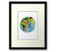 Planet Earth Africa Map Watercolor Painting Map Poster Framed Print