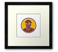 Sea Captain Portrait Woodcut Circle Framed Print