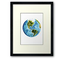 World Map Watercolor Painting Planet Earth Poster Illustration Framed Print