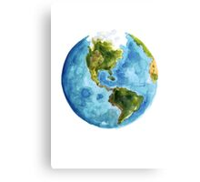 World Map Watercolor Painting Planet Earth Poster Illustration Canvas Print