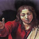 """Pastel study after Caravaggio's """"Supper at Emmaus"""" by Pam Humbargar"""
