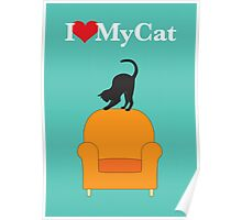 Cat on a yellow armchair Poster