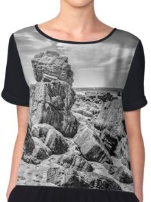 Big Rocks at Praia Malhada Jericoacoara Brazil Chiffon Top