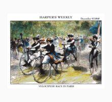 HARPER'S WEEKLY;  Vintage Bicycle Racing Print Kids Tee