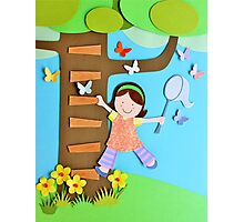 Butterfly Catcher. Paper Art Photographic Print