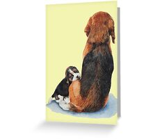 cute beagle puppy dog and mum Greeting Card