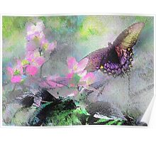 Butterfly on Linen Poster