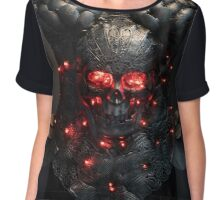 Gladiator, silver armor skull with red eyes and led lights, helmet metal filigree Chiffon Top